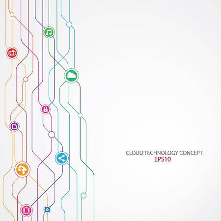 Cloud Technology Connection background. 일러스트