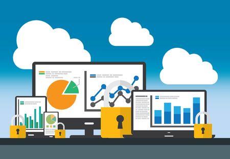Website analytics and data analysis security concept. 矢量图像