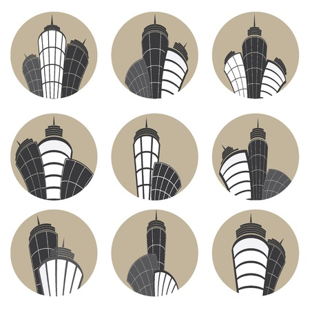 Buildings vector icons set.