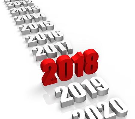 2018 年、他の年の後ろに、フロント 写真素材