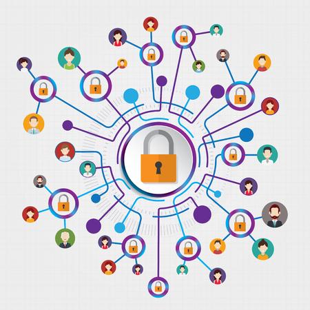 サークル接続セキュリティのベクトル テンプレートの背景。