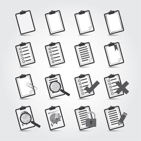 Vector b/w Reports icon set