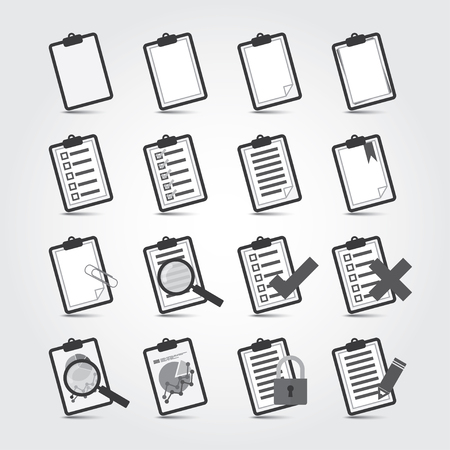 observation: Vector bw Reports icon set Illustration