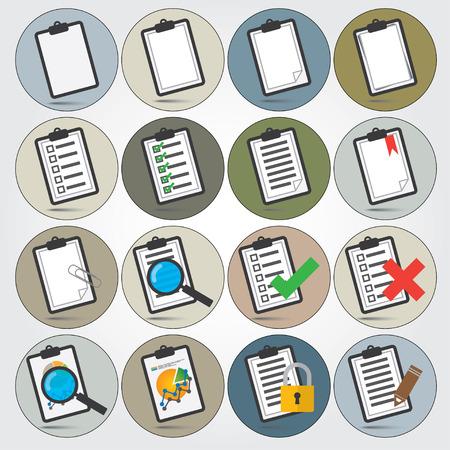 ベクトル カラフルなレポート アイコンを設定  イラスト・ベクター素材