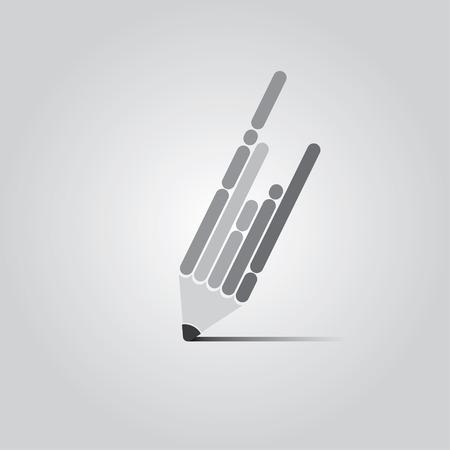 B / W Vector Flat Pen Design Concept.