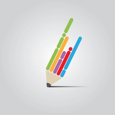 カラフルなベクトルのフラットのペンのデザイン コンセプト。  イラスト・ベクター素材