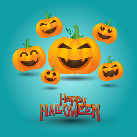 Happy Halloween. Cute pumpkin on turquoise light background. Halloween card design template for print or web 矢量图像