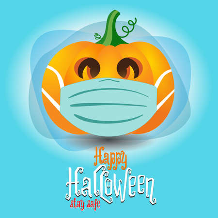 Happy Halloween. A pumpkin wearing a face mask for protection from coronavirus.
