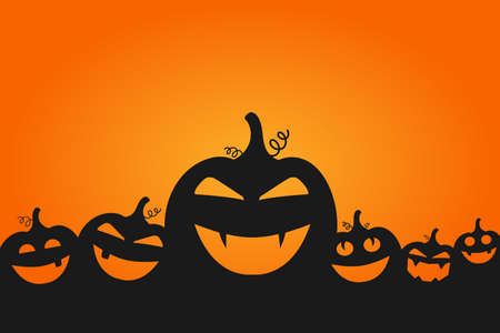 Happy Halloween. Cute pumpkins background. Halloween card design template for print or web
