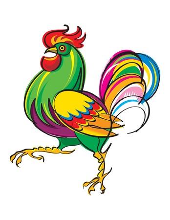 animal cock: La vivace e colorata Rooster Vettoriali