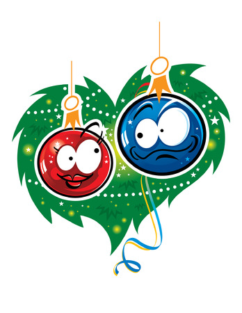 Two Christmas toys in love Vector