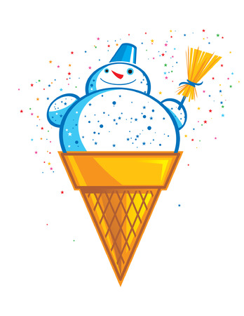 Sweet and tasty Ice Cream Snowman Stock Vector - 6419400
