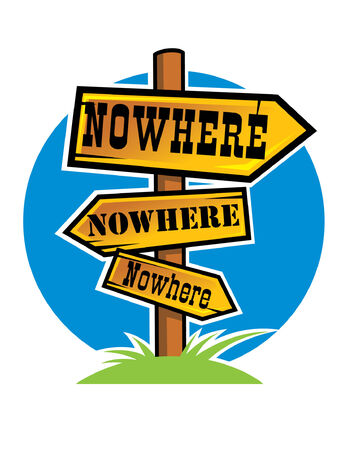 nowhere: Abstract wooden pointer to Nowhere Illustration