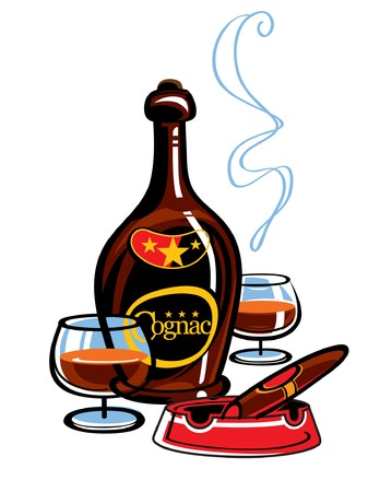 ash: Bottle of Cognac and cigar in the ash tray