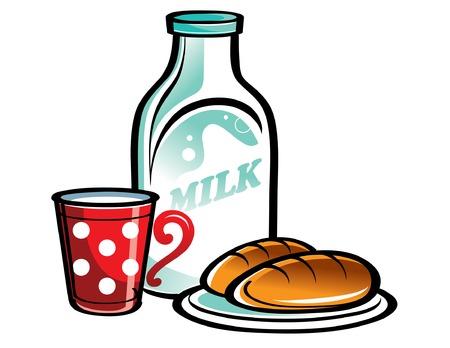 bonsoir: Bouteille de lait avec coupe rouge et les tartes  Illustration