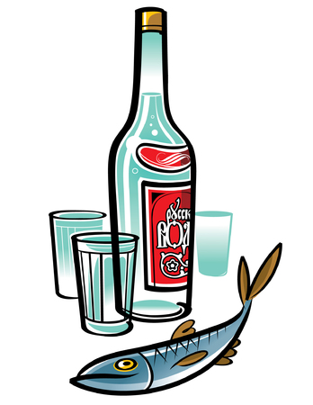 Bottle of Russian Vodka with glasses and herring Stock Vector - 6466682