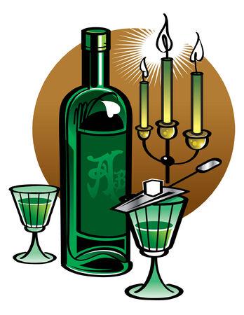 ajenjo: Botella de Absinthe con velas  Vectores