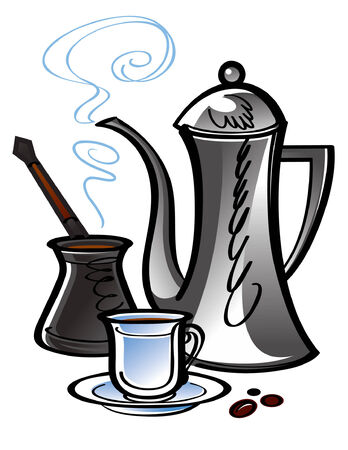 Coffee pot with porcelain cup Vector