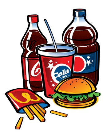 merriment: Bottles with Cola and fries with hamburger fast food Illustration