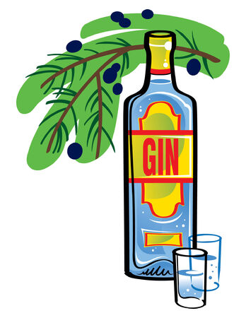 shots alcohol: Bottle of Gin with juniper branch