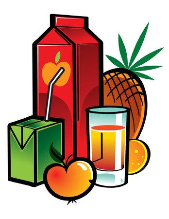 Juice boxes with fruits and vegetables Vector