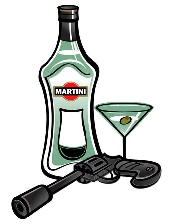 Bottle of Martini with James Bond pistol Иллюстрация