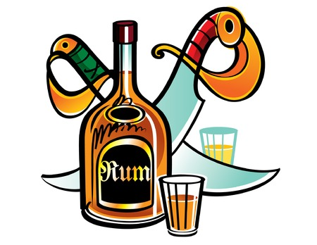 sabre's: Bottle of Rum with two sabres Illustration