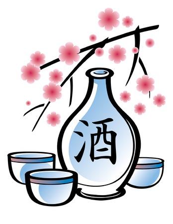 sake: Botella de porcelana de sake con rama de sakura  Vectores