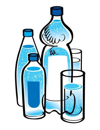 mineralien: Flaschen und Gl�ser mit Spring Water  Illustration