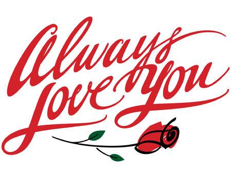 Sempre Love You con fiore rosa  Vettoriali