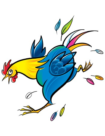 vector Colorful illustration of the running rooster Stock Vector - 6488198