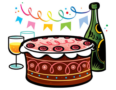 Sweet Birthday Cake with bottle of champagne and glasses Vector