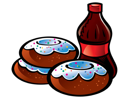 Fresh Donuts and bottle of Cola Stock Vector - 6528480