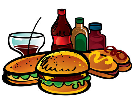 Fast Food is a Cola, ketchup, mustard, sandwich, hamburger, hot dogs Stock Vector - 6528535