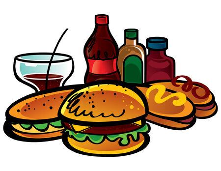 Fast Food is a Cola, ketchup, mustard, sandwich, hamburger, hot dogs Stock Vector - 6528535