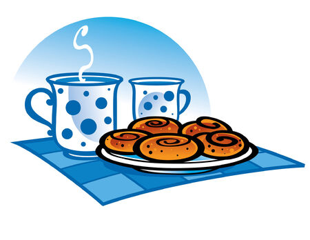milk and cookies: Cup of Milk and fresh Cookies - good breakfast Illustration