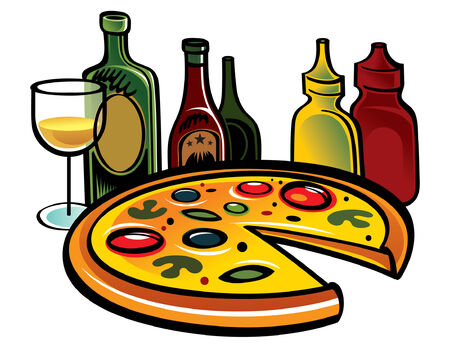 sauces: Fresh Pizza with Wine, ketchup, mustard and sauces