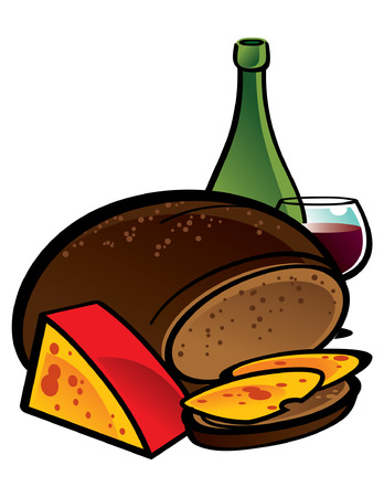 Big Rye Bread with sliced Cheese Stock Vector - 6528537