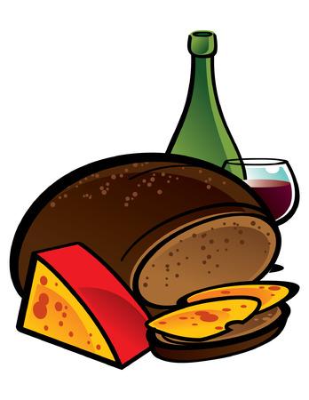 pane e vino: Grande pane di segale con fette di formaggio  Vettoriali