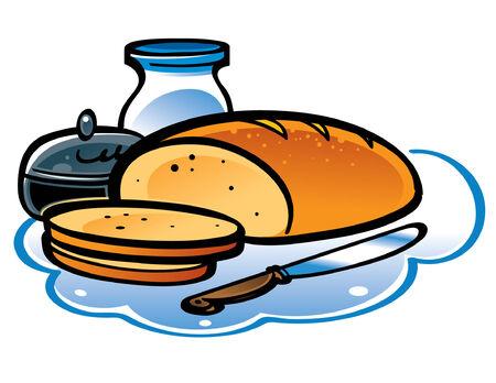 pan con mantequilla: En rebanadas de pan blanco con leche, mantequilla y cuchillo  Vectores