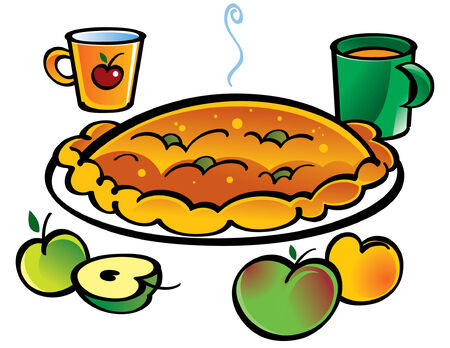 Aplle Pie and two cups with juice Stock Vector - 6528525