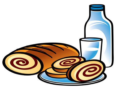 Apple Strudel with Bottle and glass of Milk Stock Vector - 6528534