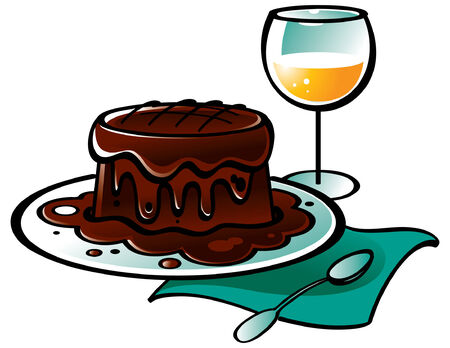Chocolate Pudding Cake and glass of Wine Stock Vector - 6528529