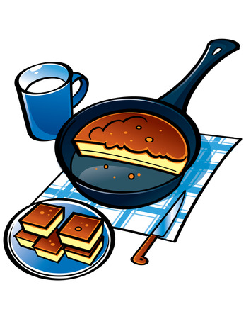 Corn Bread on frying pan and cup of milk Stock Vector - 6528536