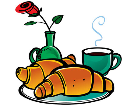 Croissants, Coffee and Rose in Vase Vector