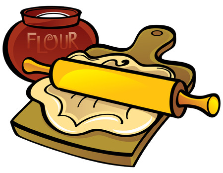 Dough on wooden desk with Rolling Pin Stock Vector - 6528530