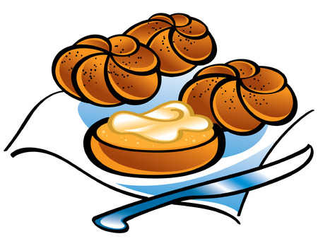 Fresh Kaiser Rolls and Knife on serviette Stock Vector - 6528538