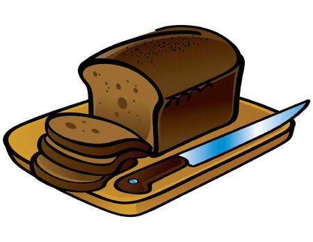 Sliced Loaf of Bread and Knife Stock Vector - 6528478