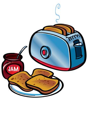 toaster: Fresh Toasts and apple Jam