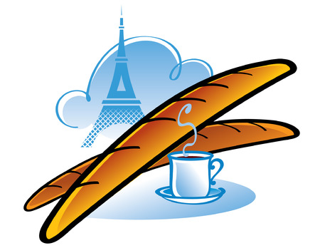 Fresh French Baguette and cup of coffee is breakfast in Paris  Иллюстрация